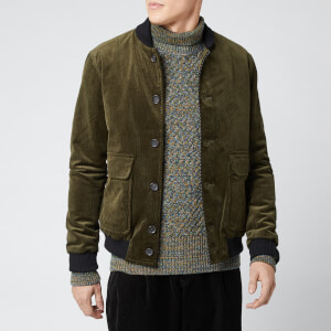 Oliver Spencer Men's Lockton Cord Bomber Jacket - Green