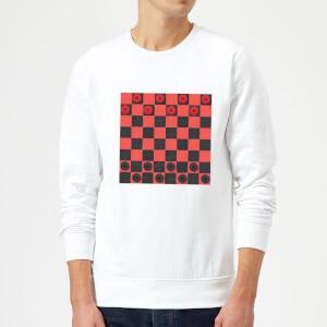Red Checkers Board Sweatshirt - White