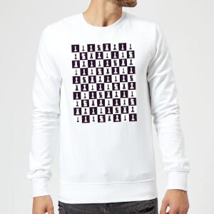 Chess Board Repeat Pattern Monochrome Sweatshirt - White