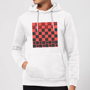 Red Checkers Board Hoodie - White