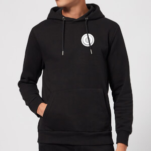 White Checker Pocket Print Hoodie - Black