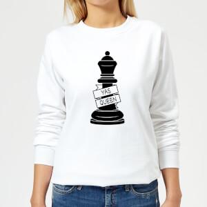 Queen Chess Piece Yas Queen Women's Sweatshirt - White