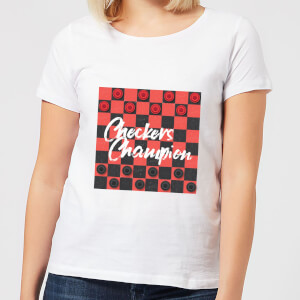 Checkers Board With Text Women's T-Shirt - White
