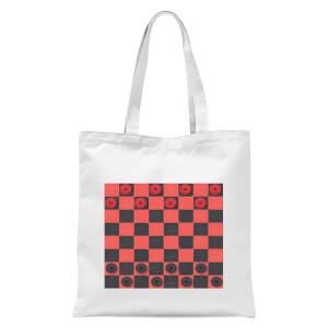 Red Checkers Board Tote Bag - White