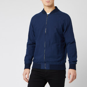 Polo Ralph Lauren Men's Oxford Garment Dyed Varsity Bomber Jacket - Navy