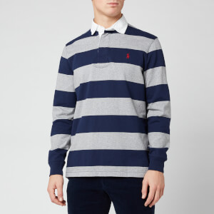 Polo Ralph Lauren Men's Classic Stripe Rugby Shirt - League Heather/French Navy