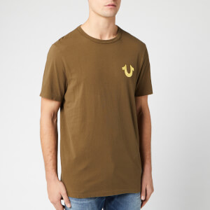 True Religion Men's Metallic Gold Buddha T-Shirt - Military Green