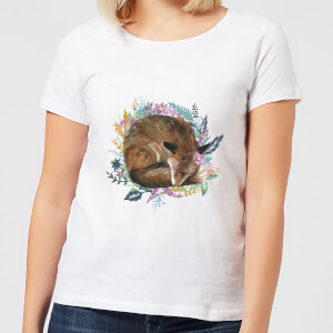 Curled Up Fox Within A Reef Women's T-Shirt - White