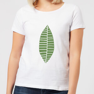 Plain Green Skinny Leaf Women's T-Shirt - White