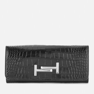 Tod's Women's Logo Flap Wallet - Black