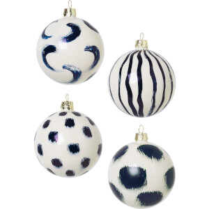 Ferm Living Christmas Hand Painted Glass Ornaments - Blue (Set of 4)