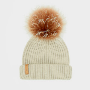 BKLYN Women's Merino Classic Pom Pom Hat - Oatmeal/Brown