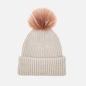 BKLYN Women's Oversized Hat - Oatmeal/Brown-Pink