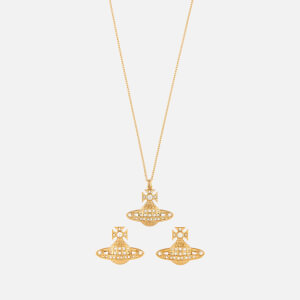 Vivienne Westwood Women's Minnie Bas Relief Pendant and Earrings Giftset - Gold Crystal