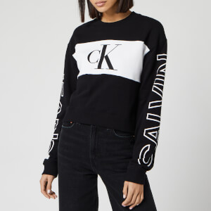 Calvin Klein Jeans Women's Blocking Statement Logo Crew Neck Sweatshirt - CK Black