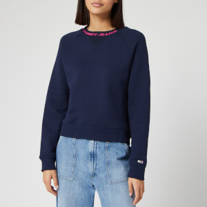 Tommy Jeans Women's Branded Neck Sweatshirt - Black Iris