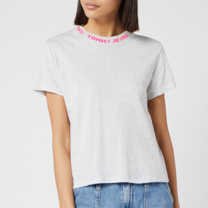Tommy Jeans Women's Branded Neck T-Shirt - Pale Grey Heather