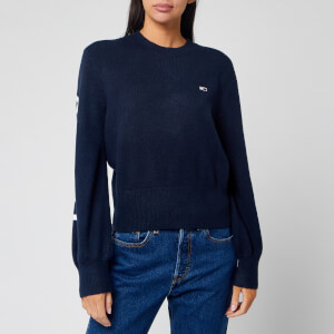 Tommy Jeans Women's Logo Sleeve Detail Jumper - Black Iris