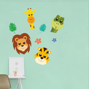 Children's Jungle Animal Pack Wall Art Sticker Pack