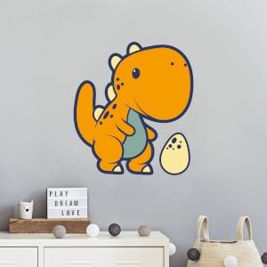 Orange Dinosaur With Egg Wall Art Sticker