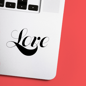 Love Script Laptop Sticker