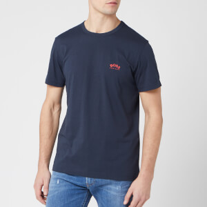 BOSS Men's Curved Logo T-Shirt - Navy