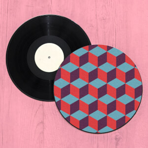 3D Cube Illusion Record Player Slip Mat