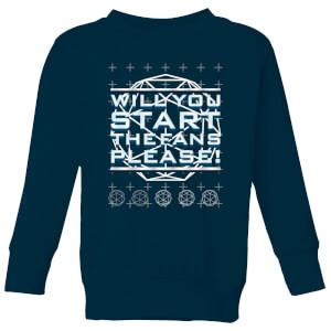 Crystal Maze Will You Start The Fans Please! Kids' Sweatshirt - Navy