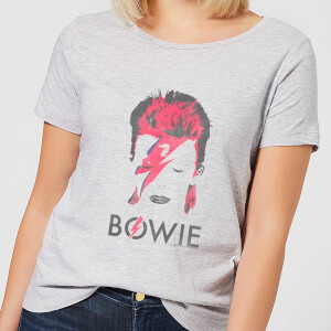 David Bowie Aladdin Sane Distressed Women's T-Shirt - Grey
