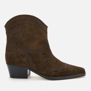 Ganni Women's Low Texas Western Style Boots - Mole
