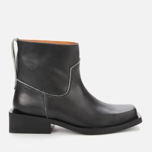 Ganni Women's Low Mc Leather Boots - Black