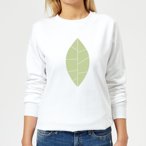Plain Green Leaf Women's Sweatshirt - White