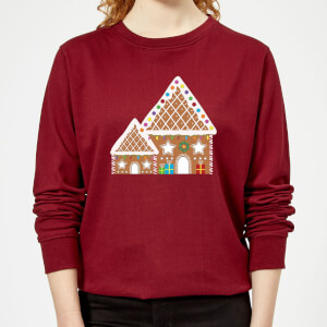 Gingerbread House Three Women's Sweatshirt - Burgundy