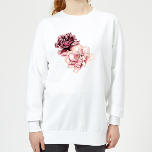 Pink Flowers Women's Sweatshirt - White