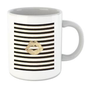 Lipstick Kiss Mark Striped Background Mug