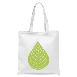 Plain Green Spotted Leaf Tote Bag - White