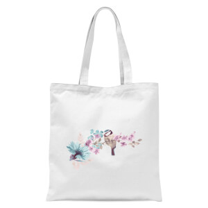 Blue Tit On Floral Branch Tote Bag - White