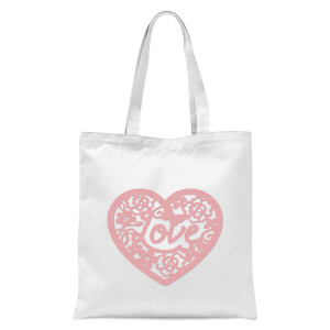 Pink Cut Out Love Heart Tote Bag - White