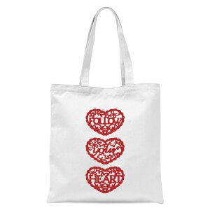 Follow Your Heart Red Cut Out Tote Bag - White