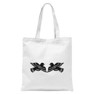 Silhouette Love Birds Tote Bag - White