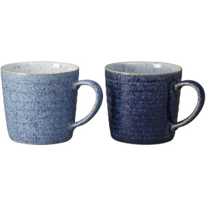 Denby Studio Blue Ridged Mugs - 400ml (Set of 2)