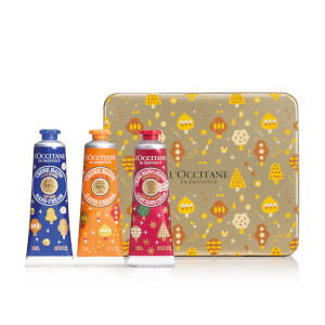 LOccitane Holiday Shea Butter Hand Cream Trio Tin (Worth $38)