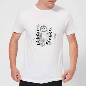 Candlelight Line Art Owl Men's T-Shirt - White