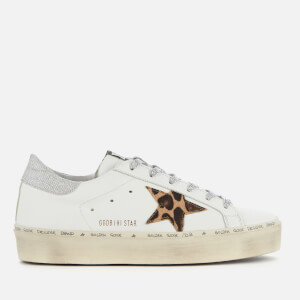 Golden Goose Deluxe Brand Women's Hi Star Flatform Trainers - White Leather/Leopard Lurex Lace
