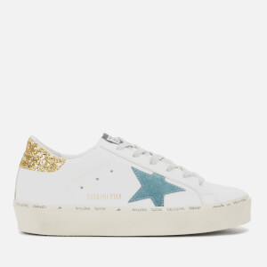 Golden Goose Deluxe Brand Women's Hi Star Flatform Trainers - White Leather/Petrol Star/Gold Glitter
