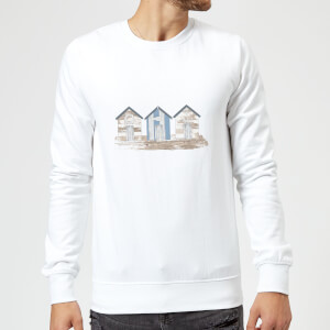 Candlelight Wooden Beach Hut Sweatshirt - White