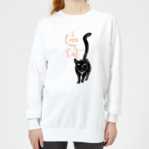 Candlelight I Love My Cat Black Cat Women's Sweatshirt - White