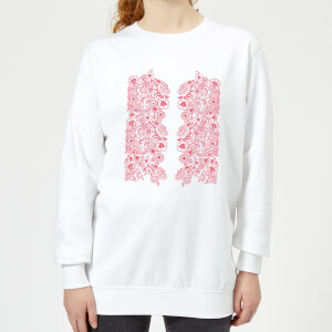 Candlelight Elegant Floral Pattern Women's Sweatshirt - White