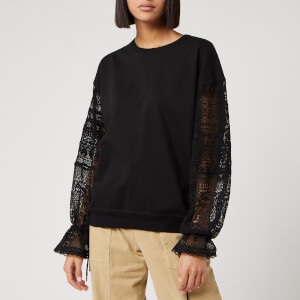 See By Chloé Women's Lace Sleeve Sweatshirt - Black