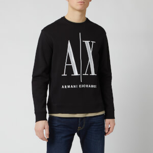 Armani Exchange Men's Large AX Logo Sweatshirt - Black
